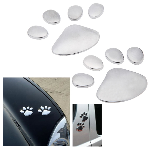 Buy Car Sticker 3D Dog Bear Footprints Chrome Badge Emblem Decal