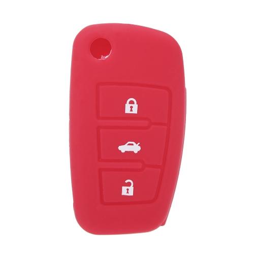 Silicone Skin Car Remote Fob Shell Key Holder Case Cover for Audi A6L Q7 TT R8 A3 A4L(2009) 3 Buttons K1871R