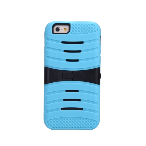 Detachable Dual Layer Silicone & PC Back Case Protective Shell Cover with Stand for iPhone 6 Blue