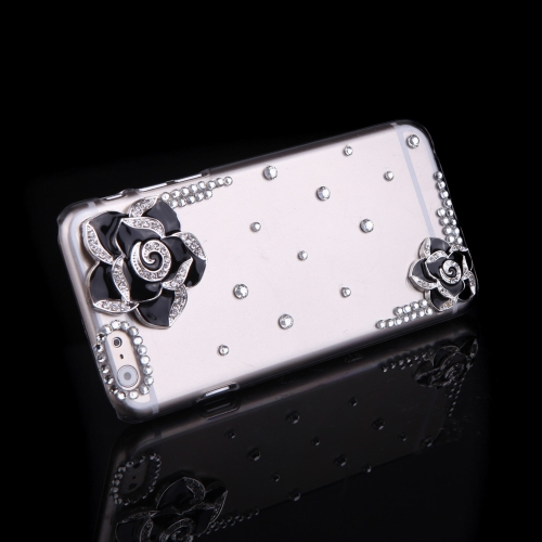 Buy Luxury Clear Transparent Crystal Bling Rhinestone Diamond Flower Case Hard Back Cover Protective Shell Apple iPhone 6 Black