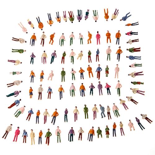100pcs OO Scale 1:75 Mix Painted Model Train Park Street Passenger People Figures T175
