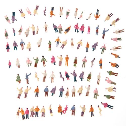 100pcs N Scale 1:150 Mix Painted Model Train Park Street Passenger People Figures