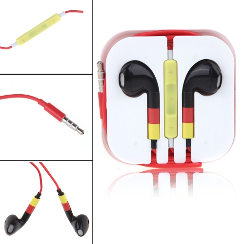World Cup Flag Sport Earphone Headset Headphone Earbuds with Microphone for iPod iPad iPhone 5 5S 4 4S 3GS Alemania