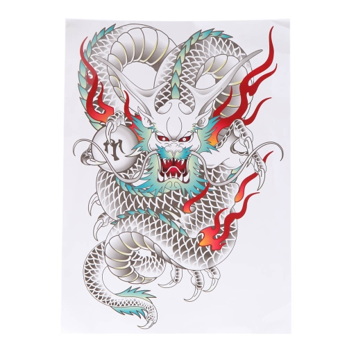 Tattoo Sticker Colorful Dragon Pattern Temporary Tattooing Paper