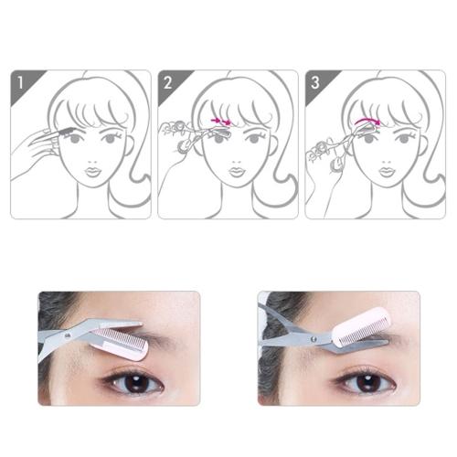 Professional Eyebrow Trimmer Scissors Combs Eyelash Shaper Makeup Too W321