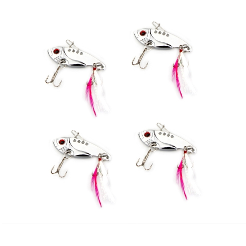 4pcs 12g/5.5cm Metal VIB Fishing Lure Treble Hook Hard Bait Bass Sequins Paillette with Pin Feather Crankbait Vibration Fishing Tackle