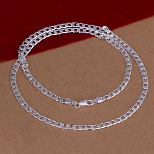 Stylish Fashion Silver-Plated Flat Link Chain Necklace