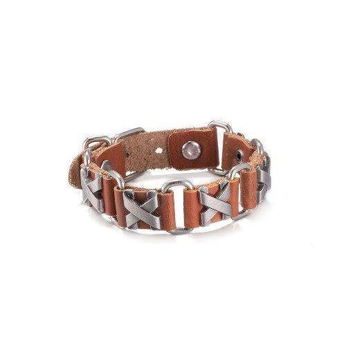 Vintage Fashion Alloy Metal Charm Buckle Leather Wristband Unisex BraceletBracelets &amp; Bangles<br>Vintage Fashion Alloy Metal Charm Buckle Leather Wristband Unisex Bracelet<br><br>Blade Length: 10.0cm