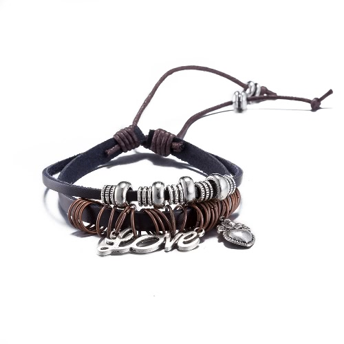 Vintage Fashion Alloy Metal Charm Leather Wristband Unisex BraceletBracelets &amp; Bangles<br>Vintage Fashion Alloy Metal Charm Leather Wristband Unisex Bracelet<br><br>Blade Length: 10.0cm