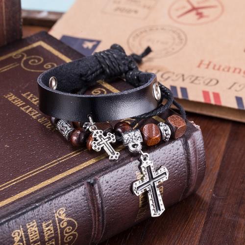 Vintage Cross Pendant Alloy Wood Charm Rope Leather Wristband Unisex BraceletBracelets &amp; Bangles<br>Vintage Cross Pendant Alloy Wood Charm Rope Leather Wristband Unisex Bracelet<br><br>Blade Length: 10.0cm