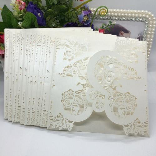 20pcs romántica boda fiesta invitación delicado tallado corazón patrón decoración