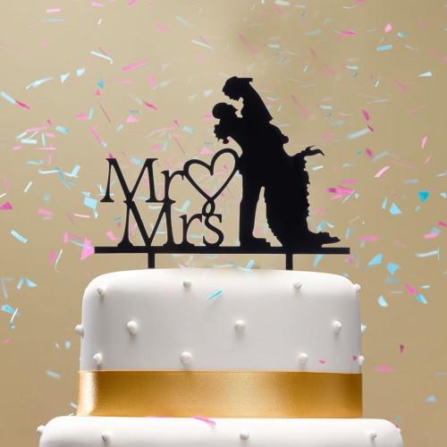 Classy Romántica Feliz Cumpleaños Acrílico de Alta Calidad La novia y el Novio de la Silueta Adorable Partido Decoración de la Boda