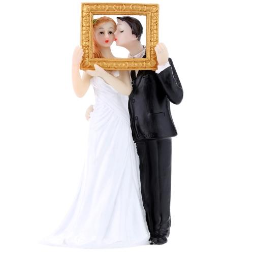 Alta calidad resina sintética novia y el novio Pastel de cumpleaños boda romántica decoración fiesta figurita Adorable regalo del arte