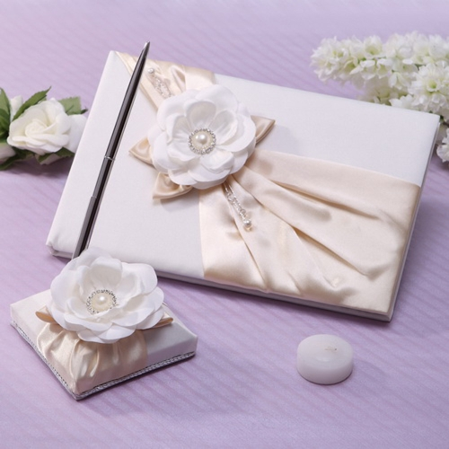 Grano y pura blanca romántica boda libro de visitas y pluma elegante flor grande brillante satinado Rhinestone incrustados pluma de huésped de moda y conjunto de libro de huéspedes
