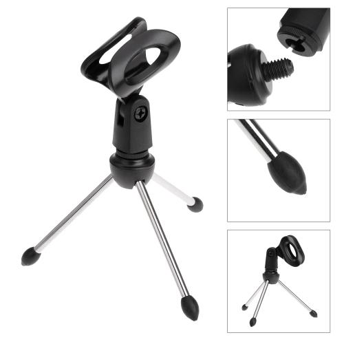 Desktop Mic Microphone Tripod Stand Holder Bracket With Rubber Cap Foldable Portable Durable kopen in de aanbieding